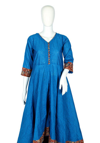 Blue Cotton Anarkali with Kalamkari Border