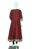 Maroon Ikat Anarkali with Kalamkari Border