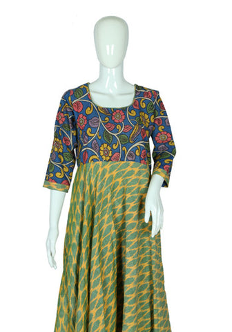 Yellow, Green and Blue Ikat and Kalamkari Anarkali