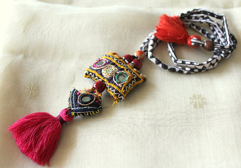 Upcycled Vintage Kutch Work Necklace Design 138