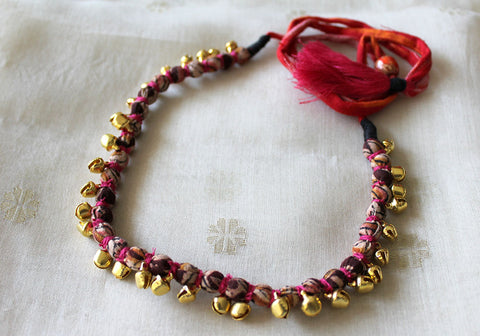 Handloom Cotton Necklace with beads and Gungroo Design 4