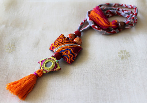 Upcycled Vintage Kutch Work Necklace Design 155