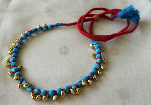 Handloom Cotton Necklace with beads and Gungroo Design 6