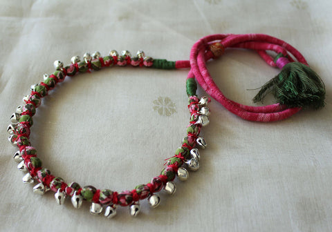 Handloom Cotton Necklace with beads and Gungroo Design 12