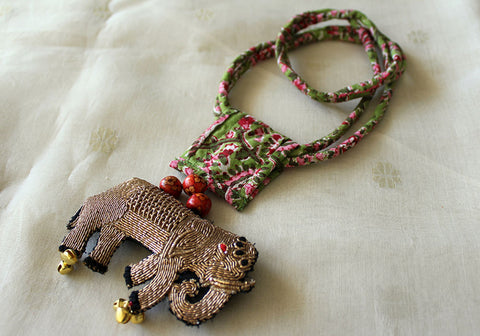 Upcycled Necklace With Hand Embroidered Elephant Pendant Design 8