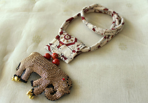Upcycled Necklace With Hand Embroidered Elephant Pendant Design 9