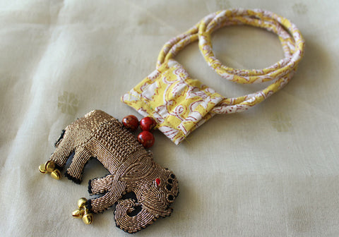 Upcycled Necklace With Hand Embroidered Elephant Pendant Design 10