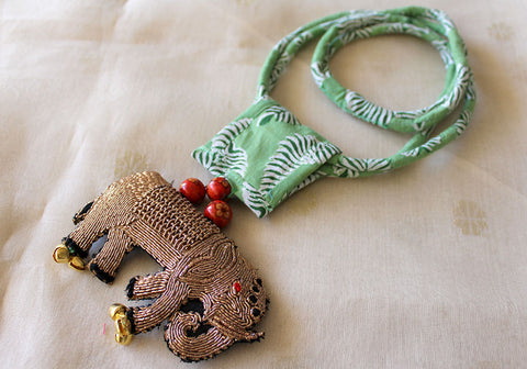 Upcycled Necklace With Hand Embroidered Elephant Pendant Design 16