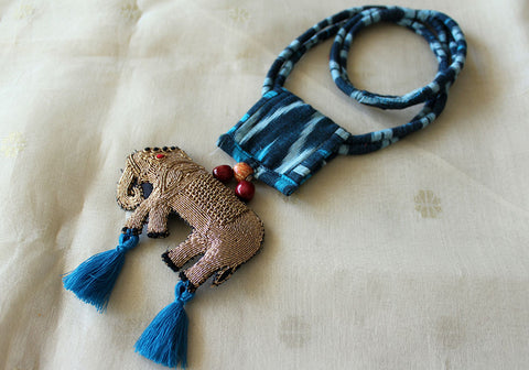 Upcycled Necklace With Hand Embroidered Elephant Pendant Design 18