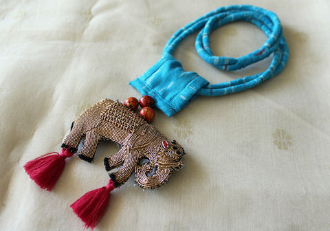 Upcycled Necklace With Hand Embroidered Elephant Pendant Design 21