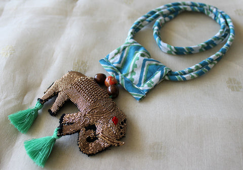 Upcycled Necklace With Hand Embroidered Elephant Pendant Design 23