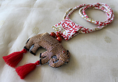 Upcycled Necklace With Hand Embroidered Elephant Pendant Design 24