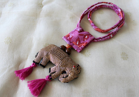 Upcycled Necklace With Hand Embroidered Elephant Pendant Design 25