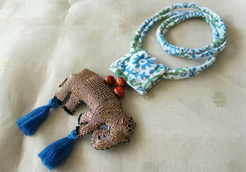 Upcycled Necklace With Hand Embroidered Elephant Pendant Design 26