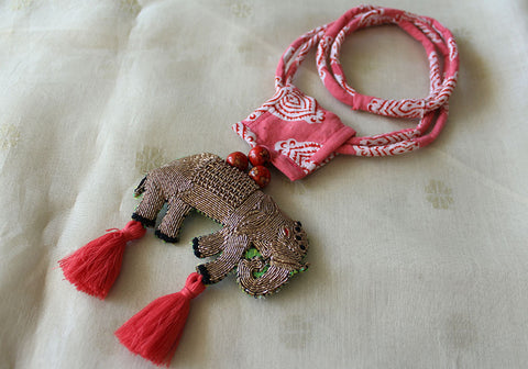Upcycled Necklace With Hand Embroidered Elephant Pendant Design 27
