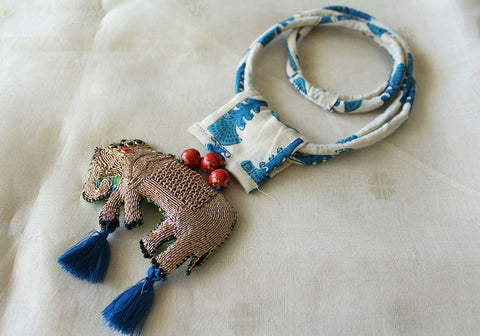 Upcycled Necklace With Hand Embroidered Elephant Pendant Design 28