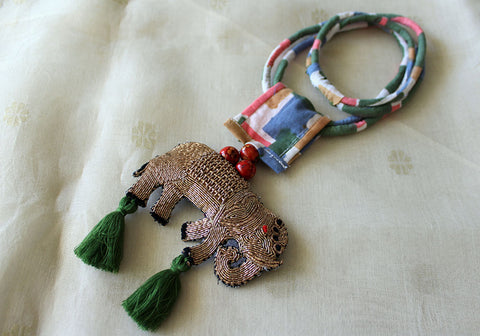 Upcycled Necklace With Hand Embroidered Elephant Pendant Design 29
