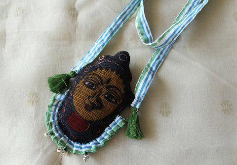 Kalamkari Fabric Necklace Design 13