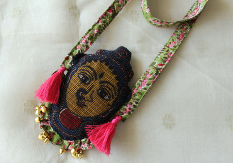 Kalamkari Fabric Necklace Design 16