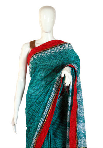 Block printed Sea Blue Cotton Saree with Red Border
