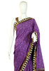 Blockprinted Purple Cotton Saree with off-white Border and Kutch work