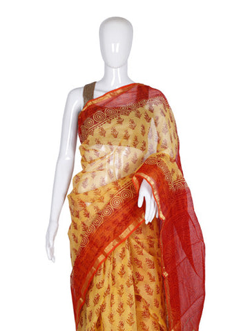 Yellow and Orange Blockprinted Kota Saree