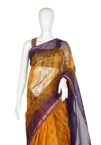 Yellow and Purple Blockprinted Kota Saree design 2