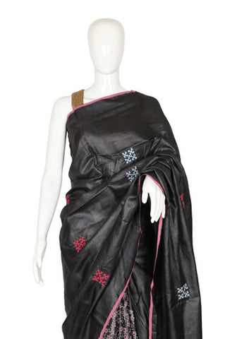 Black Tussar Silk Saree with Block Print and Kutch Work