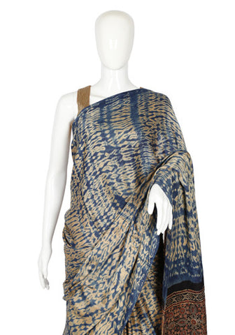 Shibori Gajji Silk Saree with Ajrakh Pallu and Blouse Design 1