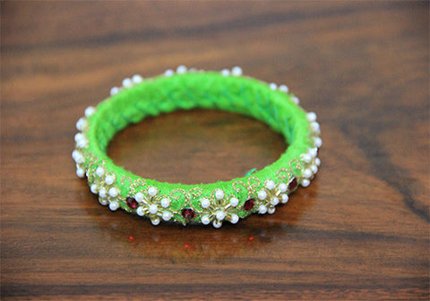 Thin Light Green Zardozi Bangle