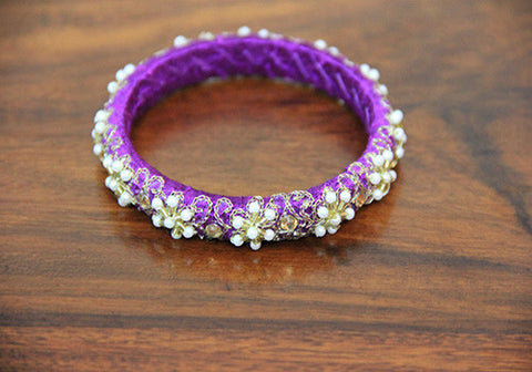 Thin Purple Pearl Zardozi Bangle