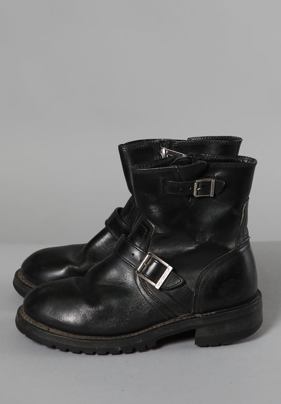Harley Davidson Black Leather Biker Boots