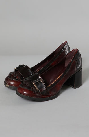 Patent Chunky Heel with Tassle Detail