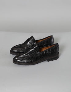 Black Crocodile Print Ralph Lauren Loafers