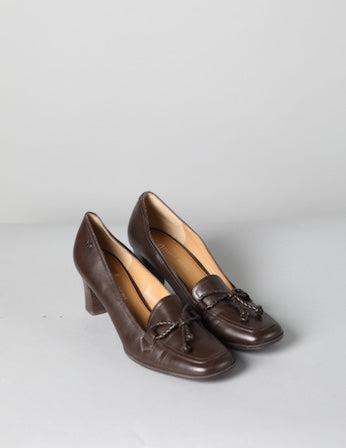 Square Toe Brown Leather Heel with Tie Detail