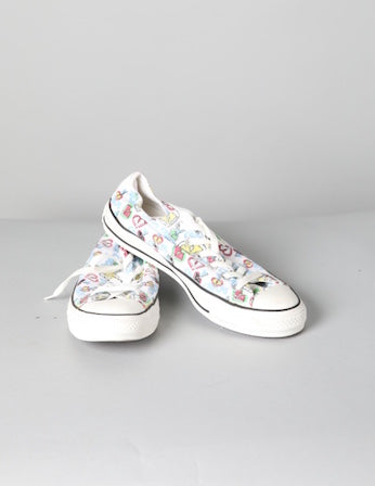 White Patterned Converse