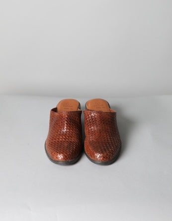 Brown Woven Leather Mules