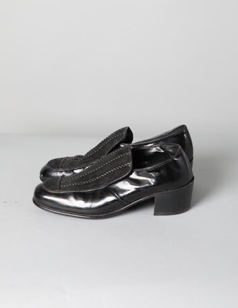 Black Patent and Suede Heeled Loafer