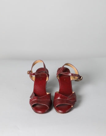 Red Strappy Low Heel