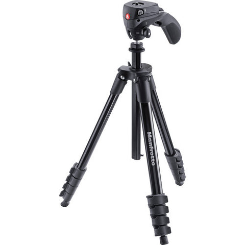 Manfrotto Compact Action 5 Section Aluminum Tripod Kit – Black (MKCOMPACTACN-BK)