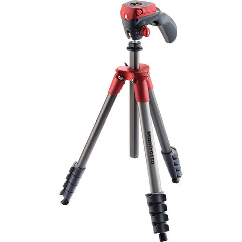Manfrotto Compact Action 5 Section Aluminum Tripod Kit – RED (MKCOMPACTACN-RD)
