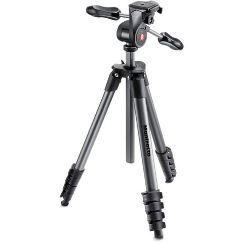 (SALE) Manfrotto Compact Advanced 5 Section Aluminum 3-Way Head Tripod Kit – Black (MKCOMPACTADV-BK)
