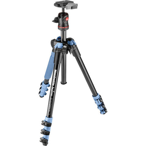 Manfrotto BeFree 4 Section Aluminum Tripod Kit – Blue (MKBFRA4L-BH)