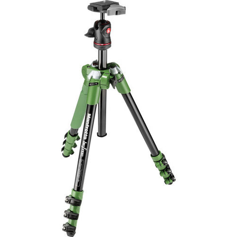 Manfrotto BeFree 4 Section Aluminum Tripod Kit – Green (MKBFRA4G-BH)
