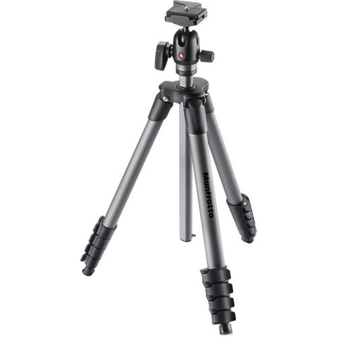 (SALE) Manfrotto Compact Advanced 5 Section Aluminum Ball Head Tripod Kit (MKCOMPACTADVBH)