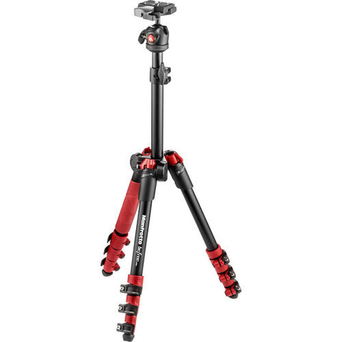Manfrotto BeFree One 4 Section Aluminum Tripod Kit – RED (MKBFR1A4R-BH)
