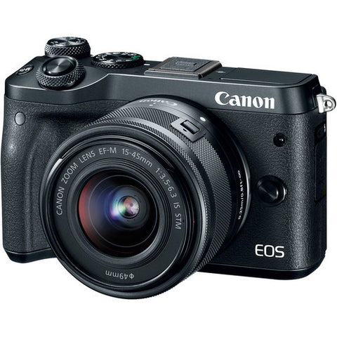 (MERDEKA SALE) Canon EOS-M6 + EF-M 15-45mm f/3.5-6.3 IS STM (Black) [FREE 16GB Card & Camera Bag]