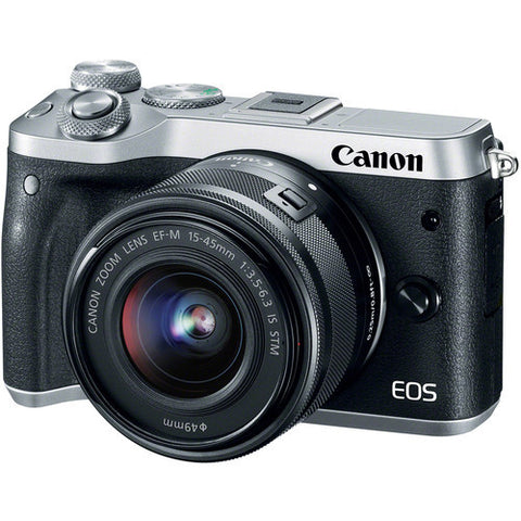 (SALE) Canon EOS-M6 + EF-M 15-45mm f/3.5-6.3 IS STM (Silver)