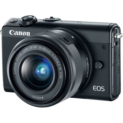 (SALE) Canon EOS-M100 + EF-M 15-45mm f/3.5-6.3 IS STM + EF-M 22mm f/2 STM (Black)