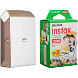 (Special Deal) Fujifilm Instax SHARE SP-2 Smartphone Printer (Gold) [FREE Instax Mini Color Plain Film (20 Shots) – Twin Pack]